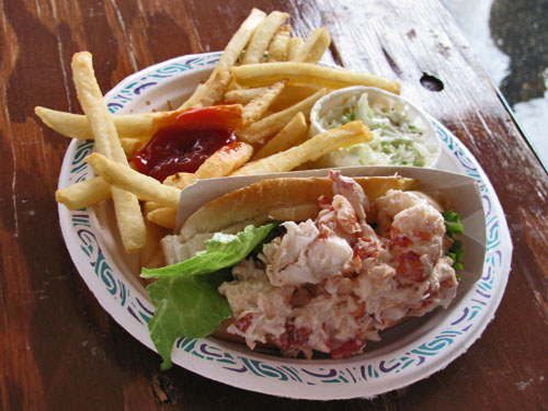 Lobster Roll, Fries, and Cole Slaw